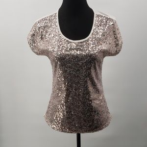 Charlotte Russe sz S sequin front zipper back top